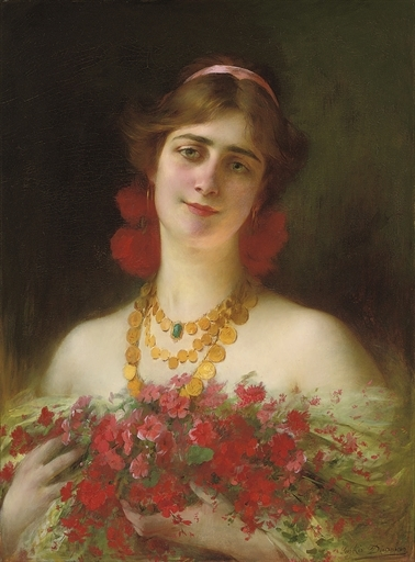 Portrait of a young maiden with red wild flowers